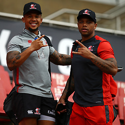 Elton Jantjies of the Emirates Lions with Lionel Mapoe of the Emirates Lions during the Emirates Lions Captain Run at the Emirates Airlines Park, South Africa. 23 February 2018 (Photo by Steve Haag/UAR)