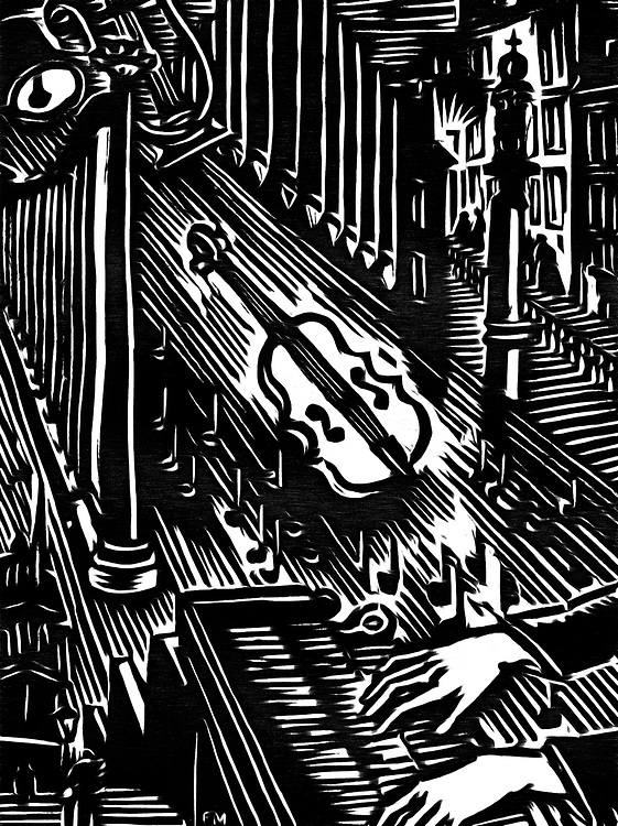A black / white drawing of a musician who is a music factory at play