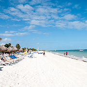 The white sandy beach at Excellence Playa Mujeres Resort at Playa Mujeres, north of Cancun, Quintana Roo, Mexico
