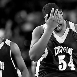Kyle Green | The Roanoke Times<br /> March 13, 2009 - Kings Fork High School player Davante Gardner (right, #54), holds his head in his hand while being scolded by teammate, Ja'Quon Parker (left, #44), after Gardner committed a late foul during the game against William Fleming during the Boys Group AAA State   final game held at the VCU Siegel Center in Richmond, Virginia on Tuesday. William Fleming defeated Princes Fork 65-62.