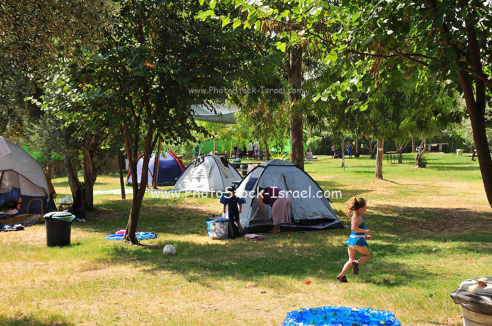 Tents at a camping ground in a park