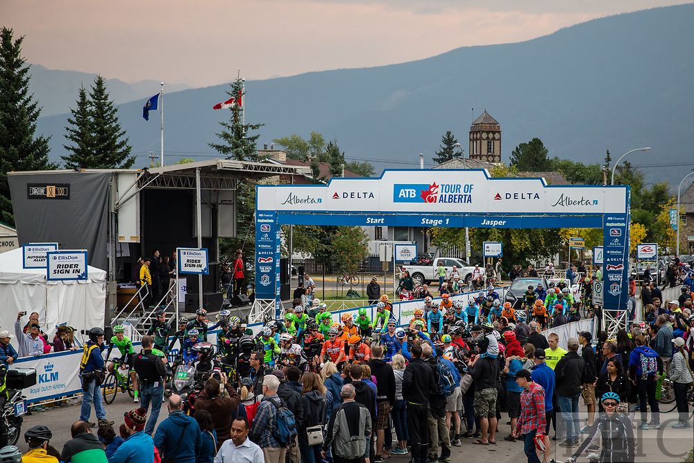 JASPER, ALBERTA, CAN - September 1: Crowds gather for the start of stage one of the Tour of Alberta on September 1, 2017 in Jasper, Canada. (Photo by Jonathan Devich)