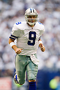 IRVING, TX - JANUARY 13:   Tony Romo #9 of the Dallas Cowboys jogs off the field at halftime against the New York Giants during the NFC Divisional playoff at Texas Stadium on January 13, 2008 in Dallas, Texas.  The Giants defeated the Cowboys 21-17.  (Photo by Wesley Hitt/Getty Images) *** Local Caption *** Tony Romo