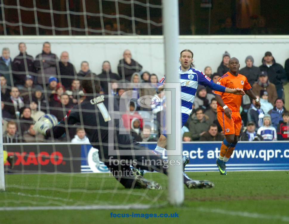 London - Saturday January 31st, 2009: Lee Camp of QPR saves a shot from Leory Lita of Reading during the Coca Cola Championship match at Loftus Road, London. (Pic by Focus Images)