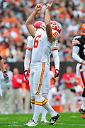 Sept. 19, 2010; Cleveland, OH, USA; Kansas City Chiefs place kicker Ryan Succop (6) celebrates after hitting a field goal during the first quarter against the Cleveland Browns at Cleveland Browns Stadium. Mandatory Credit: Jason Miller-US PRESSWIRE