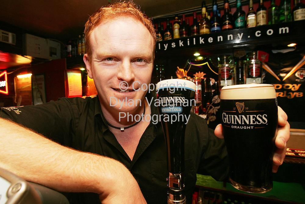 3/4/2006.Photo Caption:. ..Pictured is the Kilkenny finalist in the Best Guinness® Bartender in Ireland competition, Jimmy Rafferty, from Biddy Early's Bar, Co. Kilkenny. Jimmy is now in the running for the title 'Best Guinness® Bartender in Ireland'. He will compete in the next round of the competition in April, where county finalists from neighbouring counties will battle it out for a place in the Grand Final at the end of May.  ..Picture Dylan Vaughan.