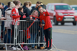 SOUTHAMPTON, ENGLAND - Saturday, November 19, 2016: Southampton's Harrison Reed poses for a photograph with a supporter ahead of the FA Premier League match against Everton at St. Mary's Stadium. (Pic by David Rawcliffe/Propaganda)