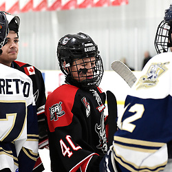 TORONTO, ON  - APR 10,  2018: Ontario Junior Hockey League, South West Conference Championship Series. Game seven of the best of seven series between Georgetown Raiders and the Toronto Patriots. Jaden Condotta #40 of the Georgetown Raiders after the final buzzer of the South West Conference. <br /> (Photo by Andy Corneau / OJHL Images)
