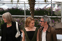 Edith Scob, Kylie Minogue and  Leos Carax  at the Holy Motors photocall at the 65th Cannes Film Festival France. Wednesday 23rd May 2012 in Cannes Film Festival, France.