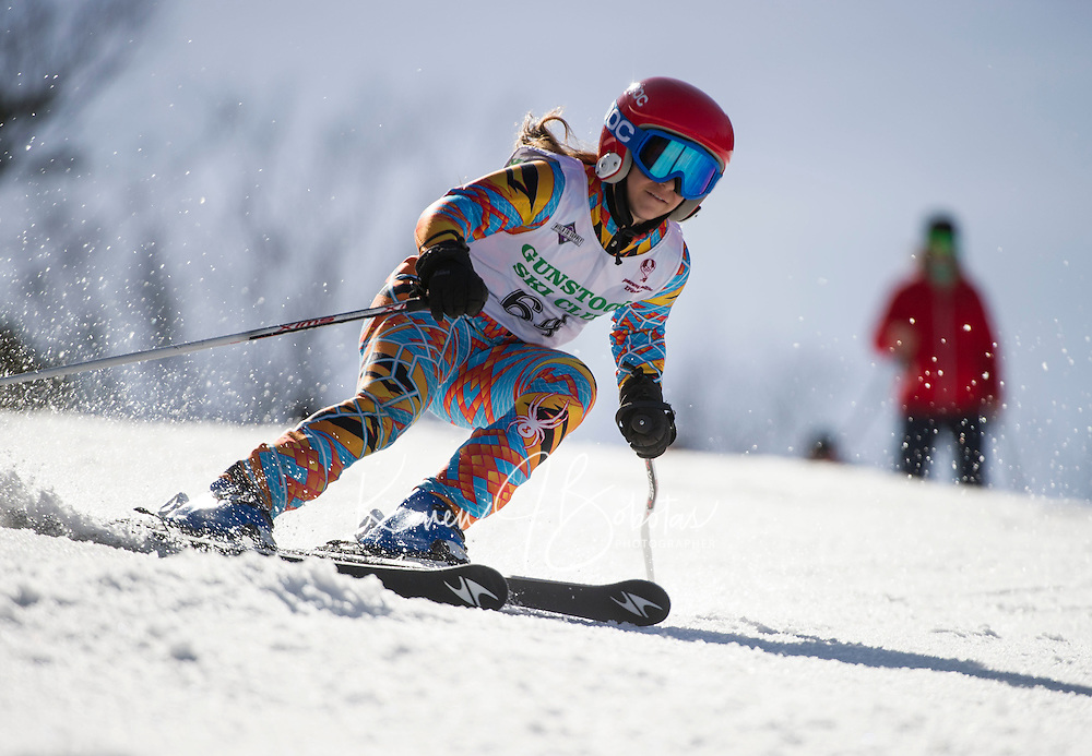 Piches Invitational U14 ladies Giant Slalom with Gunstock Ski Club.  ©2016 Karen Bobotas Photographer