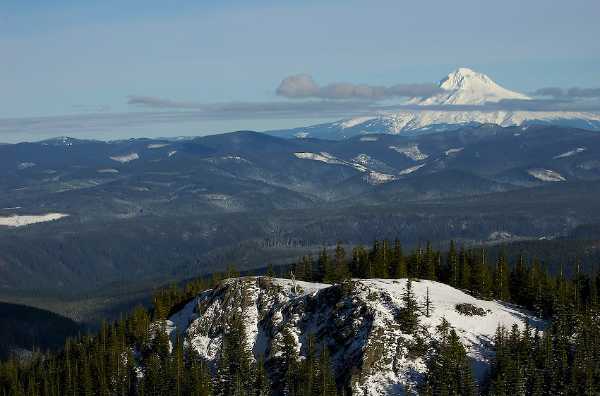 Goat mountain has a perfect view of Mt. Hood