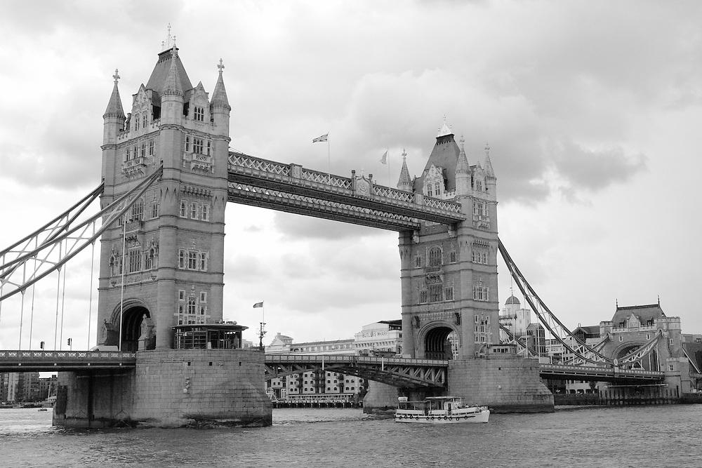 Tower Bridge North Tower Bank - London - Black & White