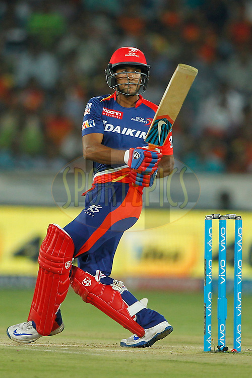 Mayank Agarwal of Delhi Daredevils hit the four during match 42 of the Vivo IPL 2016 (Indian Premier League ) between the Sunrisers Hyderabad and the Delhi Daredevils held at the Rajiv Gandhi Intl. Cricket Stadium, Hyderabad on the 12th May 2016<br /> <br /> Photo by Deepak Malik / IPL/ SPORTZPICS