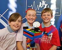 Laura Frahill , Leona Larkin  and Harry Blehein from Clontuskert National School, Ballinasloe,  Co. Galway at the Science and Technology Festival programme launch at NUI, Galway  by Mr. William Hawkins, Chairman and CEO of Medtronic Inc., who employ 2000 people in Ireland and 44,000 worldwide in the Medical devices sector. The Festival runs from the 8th till the 21st of November in County Galway. Photo:Andrew Downes. .