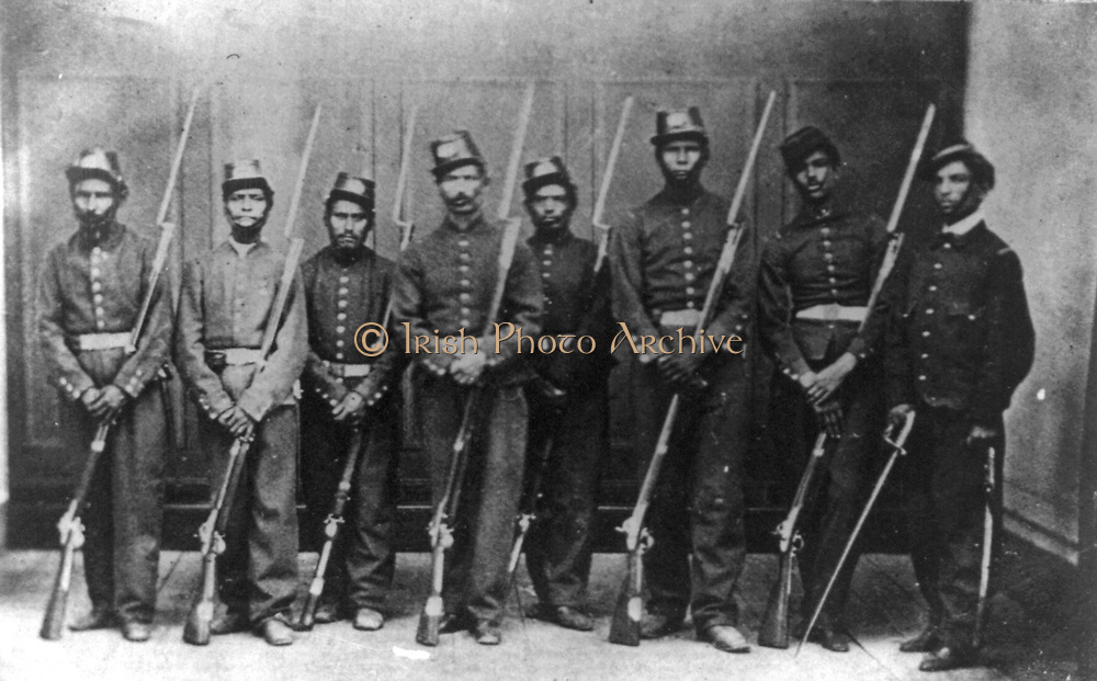 Members of the firing squad who executed Emperor Maximilian I of Mexico with his generals Miguel Miramon and Tomas Mejia, 19 June 1857.  Maximilian (1832-1967) was born Archduke Ferdinand Maximilian Joseph of Austria and was proclaimed Emperor of Mexico on 10 April 1864 with the backing of Napoleon III of France. Few foreign governments recognised his regime, which was also the case with Mexican liberals.  The ensuing conflict ended with the Emperor's execution. Photograph.