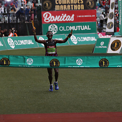 Mens winner Bongmusa Mthembu during the 2018 Comrades Marathon at the Moses Mabhida Stadium, Durban,South Africa.10,06,2018 Photo by (Steve Haag)