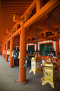 Kasuga Taisha is famous for its many lanterns which have been donated by worshippers. Hundreds of the bronze lanterns within the shrine are lit on the occasion of the Lantern Festivals in February and August.