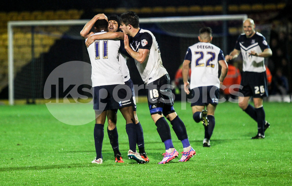 Michael Timlin of Southend United scores to make it 3-1 during the Sky Bet League 2 Play-Off 2nd leg match between Southend United and Stevenage at Roots Hall, Southend, England on 14 May 2015. Photo by Ken Sparks.