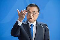 09 JUL 2018, BERLIN/GERMANY:<br /> Li Keqiang, Ministerpraesident der VR China, waehrend einer Pressekonferenz zu den Ergebnissen der Deutsch-Chinesische Regierungskonsultationen, Bundeskanzleramt<br /> IMAGE: 20180709-02-068