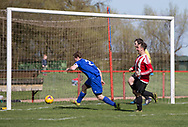 Steve Martin scores Argyle's fourth goal - Tayport (blue) v Dundee Argyle (red and white stripes)  in the Dundee Sunday FA - Chairmans Cup Final at Canniepairt, Tayport. Pic David Young<br /> <br /> <br />  - &copy; David Young - www.davidyoungphoto.co.uk - email: davidyoungphoto@gmail.com
