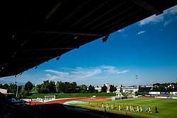 Players entering the court during football match between NK Bravo and NK Aluminij in 5th Round of Prva liga Telekom Slovenije 2019/20, on August 9, 2019 in Sports park ZAK, Ljubljana, Slovenia. Photo by Vid Ponikvar / Sportida