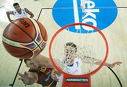 06-09-2015 CRO: FIBA Europe Eurobasket 2015 Nederland - Macedonie, Zagreb<br /> Marko Simonovski of Macedonia vs Henk Norel of Netherlands during basketball match between Netherlands and Macedonia at Day 2 in Group C of FIBA Europe Eurobasket 2015, on September 6, 2015, in Arena Zagreb, Croatia. Photo by Vid Ponikvar / RHF