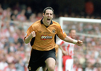 Mark Kennedy (Wolves) celebrates scoring goal no.1. Wolverhampton Wanderers v Sheffield United. Division One play off Final @ Cardiff's Millennium Stadium. 26/5/2003. Credit : Colorsport/Andrew Cowie.