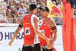 28.07.2017, Donauinsel, Wien, AUT, FIVB Beach Volleyball WM, Wien 2017, Herren, Gruppe L, im Bild v.l. Clemens Doppler (AUT), Alexander Horst (AUT) // f.l. Clemens Doppler of Austria Alexander Horst of Austria during the men's group L match of 2017 FIVB Beach Volleyball World Championships at the Donauinsel in Vienna, Austria on 2017/07/28. EXPA Pictures © 2017, PhotoCredit: EXPA/ Sebastian Pucher