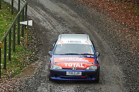 #51 Chris Phillips / Sarah Hughes Peugeot 106 Gti Bala during Neil Howard Memorial Stage Rally, and opening round of the 2015 Motorsport News Rally Championship.  at Oulton Park, Little Budworth, Cheshire, United Kingdom. November 07 2015. World Copyright Peter Taylor. Copy of publication required for printed pictures.  Every used picture is fee-liable. http://archive.petertaylor-photographic.co.uk