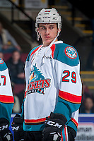 KELOWNA, CANADA - DECEMBER 27: Nolan Foote #29 of the Kelowna Rockets lines up against the Kamloops Blazers on December 27, 2016 at Prospera Place in Kelowna, British Columbia, Canada.  (Photo by Marissa Baecker/Shoot the Breeze)  *** Local Caption ***