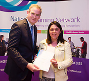 Sean Kyne TD Minister of State for Community Affairs, Natural Resources and Digital Development, presenting certificate to  Niamh McGrath  with Major Award QQI level 2 in General Learning. Photo:Andrew Downes, xposure .