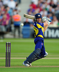 Hamish Marshall of Gloucestershire plays a shot - Photo mandatory by-line: Dan Mullan/JMP - 07966 386802 - 16/05/2014 - SPORT - CRICKET - County Cricket Ground - Gloucester Cricket v Somerset Cricket - T20