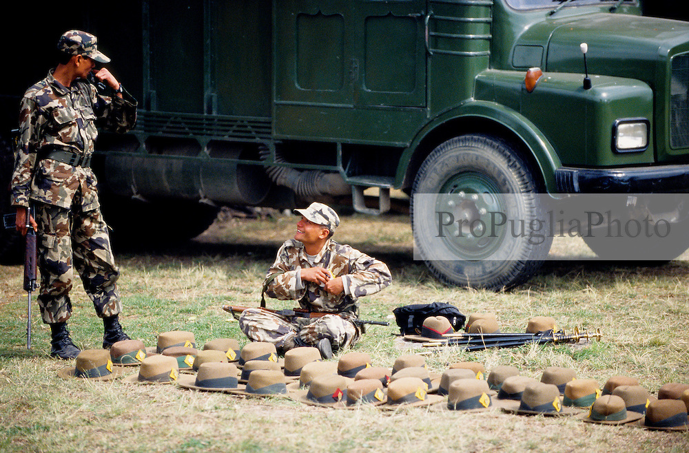 Kathmandu, 20 February 2005.  Royal Nepal Army in Tundikhel park. In here the Army gets exercises for military parades.