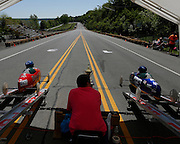 Cars begin a race down Lakeshore Boulevard on Saturday, May 31, 2014. Eighty-two competitors raced in six divisions, with the winner of each division advancing to the world championships in Akron, Ohio.