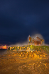 """Fly Geyser at Night 3"" - Photograph of the famous man made Fly Geyser in Nevada, shot at night. The full moon can be seen in the distance."