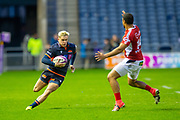 Darcy Graham (#14) of Edinburgh Rugby runs at Jamie-Jerry Taulagi (#14) of SU Agen Rugby during the European Rugby Challenge Cup match between Edinburgh Rugby and SU Agen at BT Murrayfield, Edinburgh, Scotland on 18 January 2020.
