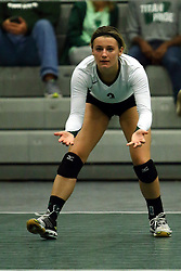 28 October 2016:  Raina Emery during an NCAA womens division 3 Volleyball match between the DePauw Tigers and the Illinois Wesleyan Titans in Shirk Center, Bloomington IL