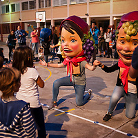 "Vilafranca del Penedes, Catalonia, Spain. Saturday, 30 September 2017. A ""Capgrossos"" workshop at the playground of Balta Elies public school. Parents and families are doing many kinds of activities at tomorrows Catalan referendum polling stations. Activists and families will spend the night inside their assigned polling stations as a measure to try to avoid the closure of the schools by the police. Vilafranca del Penedes, Catalonia, Spain."