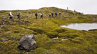 Hikers on Hraukar, Kringilsárrani. Highlands of Iceland.<br /> <br /> Göngufólk við Hrauka inn á Kringilsárrana.