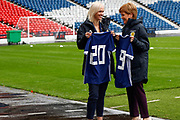 First Minister Nicola Sturgeon (Patron on the Scotland Womens National Team) with Scotland Head Coach Shelley Kerr discuss the FIFA Women's World Cup during the press conference for the Scotland Women's team World Cup Funding Announcement held at Hampden Park, Glasgow, United Kingdom on 26 September 2018.
