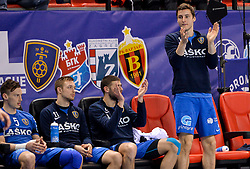 Jaka Malus, Gal Marguc,  and Matic Groselj of Celje PL during handball match between Meshkov Brest and RK Celje Pivovarna Lasko in bronze medal match of SEHA- Gazprom League Final 4, on April 15, 2018 in Skopje, Macedonia. Photo by  Sportida