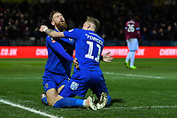 Football - 2018 / 2019 Emirates FA Cup - Fourth Round: AFC Wimbledon vs. West Ham United<br /> <br /> AFC Wimbledon's Scott Wagstaff celebrates scoring his side's third goal and his second, at Cherry Red Records Stadium (Kingsmeadow).<br /> <br /> COLORSPORT/ASHLEY WESTERN