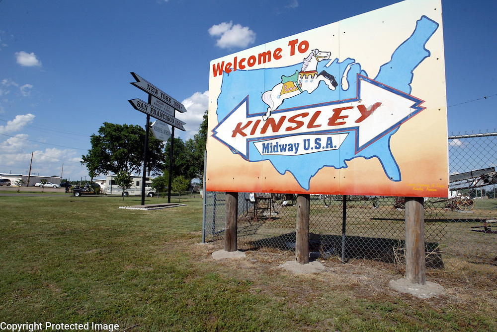 There are a number of midpoints in Kansas - this one in Kinsley is the halfway point between New York and San Francisco.