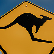 Famous Kangaroo sign on a blue sky. Kangaroo Island.