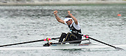 Munich, GERMANY, 01.09.2007,   A Final. NZL Lm1X Duncan GRANT celebrates winning the  Gold Medal at the 2007 World Rowing Championships, taking place on the  Munich Olympic Regatta Course, Bavaria. [Mandatory Credit. Peter Spurrier/Intersport Images]. , Rowing Course, Olympic Regatta Rowing Course, Munich, GERMANY