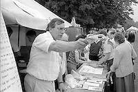 Kellingley delegate Howard Wadsworth selling Yorks Area ties and badges to raise money for victimised miners. 1988 Yorkshire Miner's Gala. Wakefield.