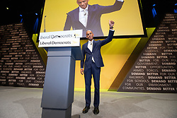 © Licensed to London News Pictures . 15/09/2019. Bournemouth, UK. CHUKA UMUNNA waves to the audience after delivering his conference speech . The Liberal Democrat Party Conference at the Bournemouth International Centre . Photo credit: Joel Goodman/LNP