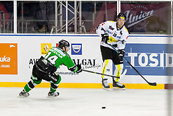 24.12.2014, Republic Square, Ljubljana, SLO, EBEL, HDD Telemach Olimpija Ljubljana vs EC Dornbirn, 30. Runde, in picture Matej Hocevar (HDD Telemach Olimpija, #14) and Andy Sertich (EC Dornbirn, #10) during the Erste Bank Icehockey League 30. Round between HDD Telemach Olimpija Ljubljana and EC Dornbirn on Republic Square, Ljubljana, Slovenia on 2014/12/16. Photo by Urban Urbanc / Sportida
