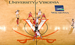 Virginia center Aisha Mohammed (33) and St. Francis (PA) center Janie Killian (45) jump for the opening tip off.  The #15 ranked Virginia Cavaliers defeated the St. Francis (Pa.) Red Flash 82-66 in NCAA Women's Basketball at the John Paul Jones Arena on the Grounds of the University of Virginia in Charlottesville, VA on January 5, 2009.