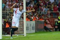 Sevilla's Iago Aspas celebs his goal during the match between Sevilla FC and Villarreal day 9 spanish  BBVA League 2014-2015 day 5, played at Sanchez Pizjuan stadium in Seville, Spain. (PHOTO: CARLOS BOUZA / BOUZA PRESS / ALTER PHOTOS)